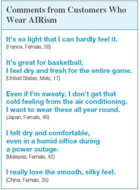 Comments from Customers Who Wear AIRism   It's so light that I can hardly feel it. (France, Female, 28)   It's great for basketball. I feel dry and fresh for the entire game. (United States, Male, 17)   Even if I'm sweaty, I don't get that cold feeling from the air conditioning.I want to wear these all year round. (Japan, Female, 46)   I felt dry and comfortable, even in a humid office during a power outage. (Malaysia, Female, 42)   I really love the smooth, silky feel. (China, Female, 35)